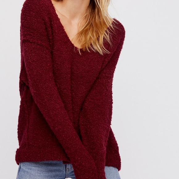 Free People Sweaters Lofty Boucle V Neck Sweater Small Poshmark